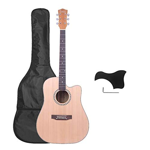 SISHUINIANHUA Fichte Vorder Cutaway Manchurian Ash Zurück Folk-Gitarre mit Tasche & Brett & Schlüssel-Werkzeug Burlywood
