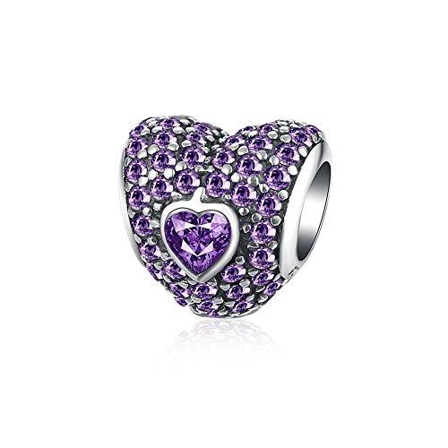 HMILYDYK'Love You Forever' Heart Charm Bead CZ Crystal 925 Sterling Silver fit Pandora Charms Bracelet (Purple)