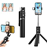 Selfie Stick Tripod, Extendable Bluetooth Selfie Stick with Fill Light and Wireless Remote,Compatible with iPhone 11/11 pro/X/8/8P/7/7P/6s/6, Samsung Galaxy S20/Note 10/S10/S9, and More