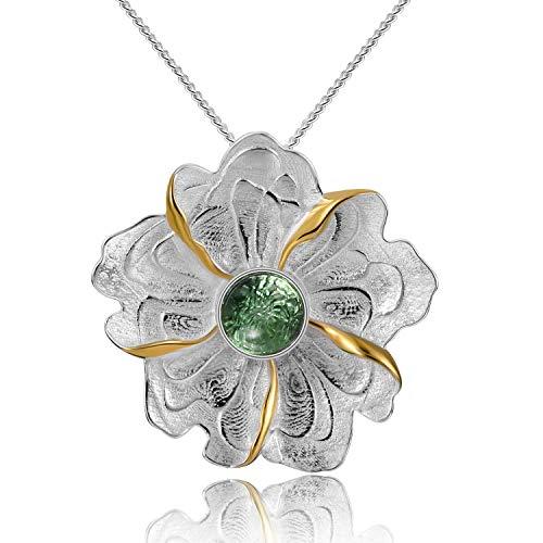 Lotus Fun S925 Sterling Silber Anhänger Pfingstrosen-Blumen-Anhänger Natürlicher Turmalin Kreativ Handgemachter Einzigartiger Schmuck für Frauen und Mädchen (Green)