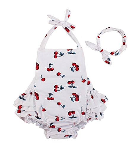 Three Babies Baby Girl Cherry Pattern Bathing Suits Outfits Rompers with Headband (1-2 Years,White)