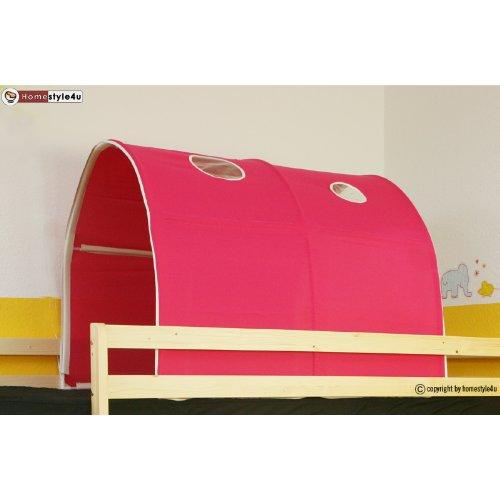 Homestyle4u 556, kindertunnel voor hoogslaper, roze, katoen, 90 cm breed