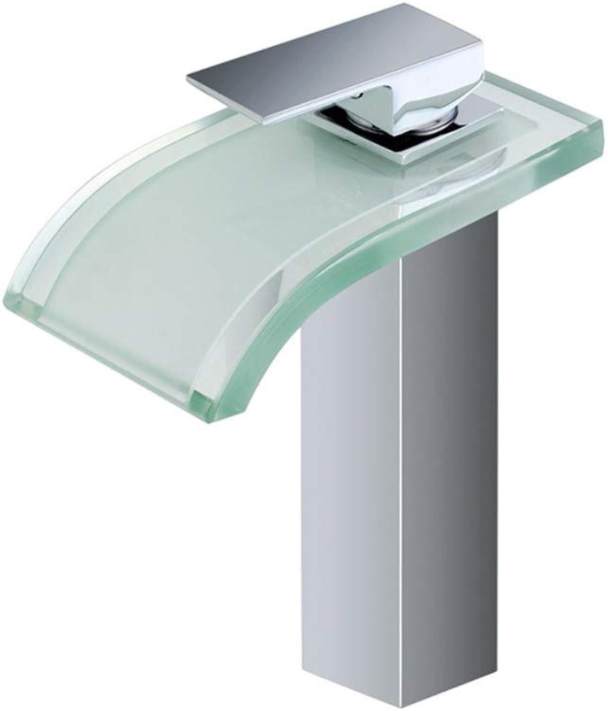JONTON Faucet faucet faucet Led light basin basin above counter basin height glass waterfall water temperature control color wash basin