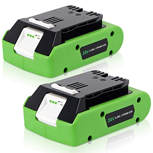 Calihutt 2 Pack 24V 6.0Ah Replacement Battery for Greenworks 24V Max 29842 29852 29322 Lithium lon Battery 20352 22232 2508302 Cordless Tools