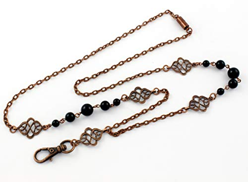 Brenda Elaine Jewelry Non-Tarnishing Women's Fashion Lanyard Necklace ID Badge Holder, 32 Inch Antique Copper Chain and Celtic Accents with Black Color Pearls & Magnetic Clasp