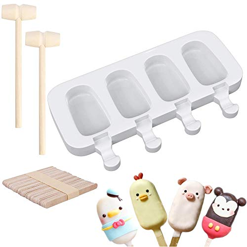 Silicone Popsicle Molds 4 Cavities Homemade Ice Pop MoldsPopsicle Maker with 50 pcs Wooden Sticks amp 2 pcs Wooden Hammers for DIY Ice Popsicle