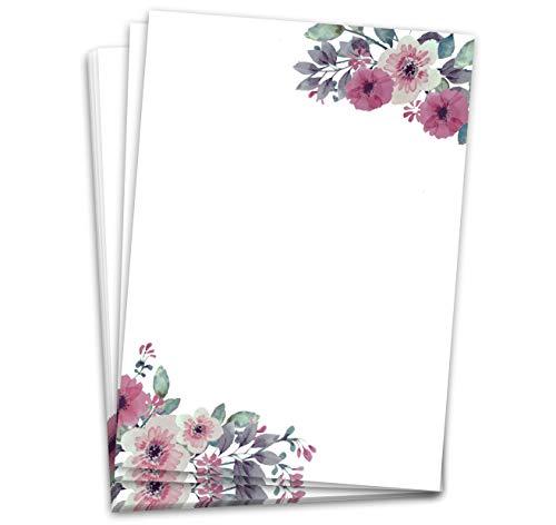 Briefpapier (60 Blatt, DINA4) Designpapier Aquarell-Vintage-Blumen Briefbögen (Blumen)