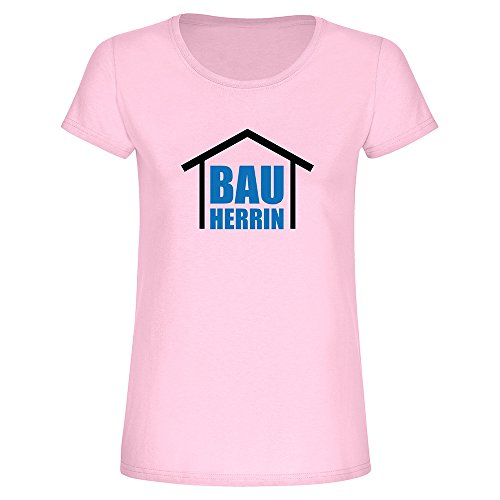 T-Shirt Bauherrin, Fun-Shirt, Einzug, Richtfest, Hausbau, Geschenkidee, Damen, Frauen, Ladies (XL, rosa)