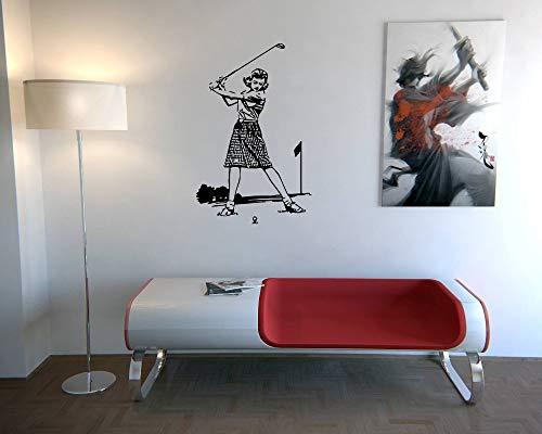zhuziji Retro wandaufkleber abziehbilder Kunst wandbilder Sport Golf weibliche Spieler alte Fotos Sport Zimmer abziehbilder Indoor Home decoration42x66cm