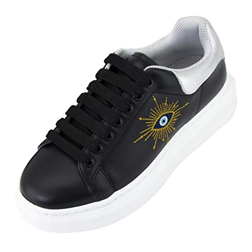 CHI Graphene Fashion Sneakers with hand-stitched embroidery of the Horus Eye. Women's Walking Shoe. Acupressure insoles relieves foot pain and disburses weight for long-lasting energy. Style LIGHTNING