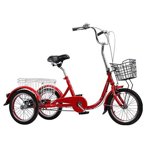 16-Zoll-Dreiräder für Erwachsene 3-Rad-Fahrrad Dreirad-Fahrradkreuzer Radpedal Dreirad mit Einkaufskorb Fahrräder Trikes Frauen Männer Senioren für die Freizeit Shopping-Übung Liegeräder