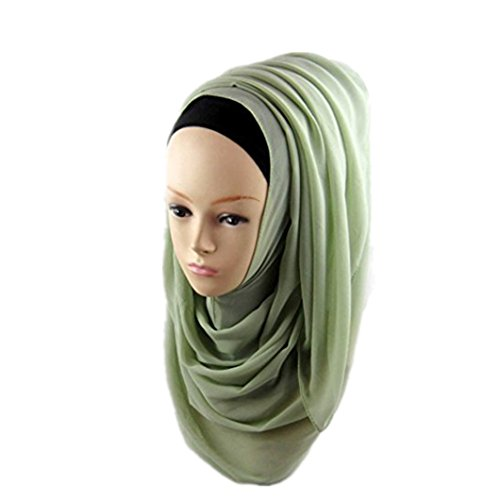 Price comparison product image DZT1968 Women Casual Chiffon Long Scarf anti-uv Muslim Hijab Arab Wrap Shawl Headwear (Light Green)