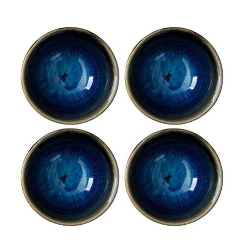 Amosfun 4pcs japanische Grundschalen stellten keramische japanische Porzellanwein-Saki-Schalen kleine Teeschalen EIN