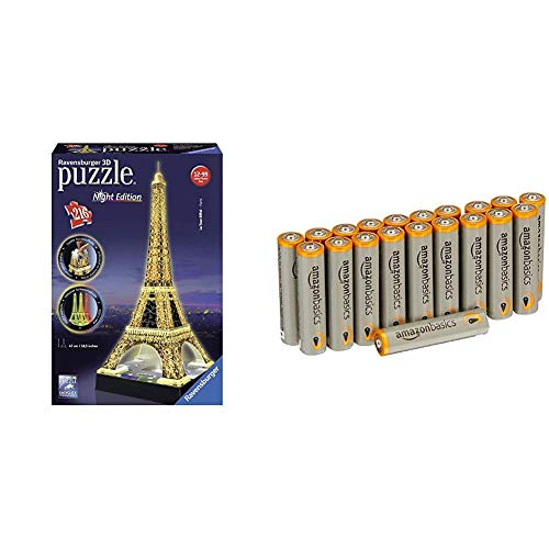 Ravensburger 125791 Eiffelturm bei Nacht Puzzle 3D-Puzzle Bauwerk Night Edition, 216 Teile mit Amazon Basics Batterien