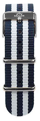 Sailor Damen Herren Nylon Armband Bay blau-weiß, BSL101-1024-20
