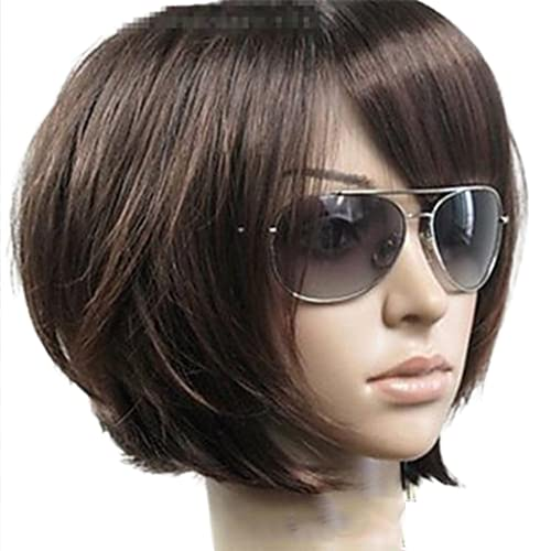 """Lazwii 10"""" Bob Short Straight Brown Synthetic Wig with Bangs for Women, Premium Updated Heat Resistant Soft Rose Net Wig, The Quality is Very Good"""