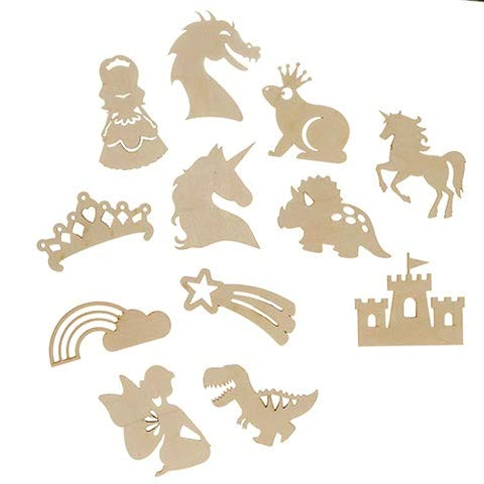 Unfinished Fairytale Wooden Cutouts (Pack of 12 Styles - Fairy, Frog, Acron, Rainbow, Unicorn, Leaf, Dinosaur, Shooting Star, Castle, Dragon, T-Rex, Pumpkin ) Decorations Craft Projects, Gifting Ideas