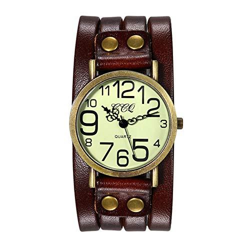 Avaner Reloj de Pulsera Grande Punky Rock para Hombres Reloj Grande Correa de Cuero Marrón, Reloj de Pulsera con Remaches Retro Vintage, Regalo de San Valentín