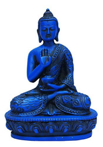 mytibetshop Buddha Statue, Buddha Statue for Home, Blue Buddha Statue Buddha Statue Fear Less mudra Hand Painted by Himalayan Artisan in Nepal in Blue Lapis Looking