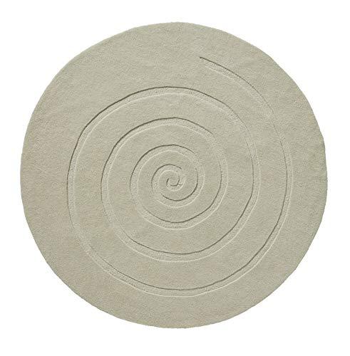 Think Rugs Alfombra de lana 100% tejida a mano en espiral, moderna, con textura, redonda, grande, 140 cm, círculo (marfil)
