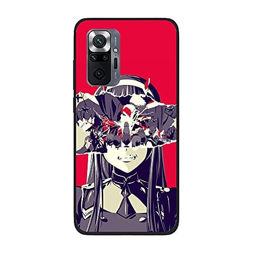 SweetST Carcasa de silicona TPU ultra fina para XIAOMI Redmi Note 10 Pro-Zero Two Darling in the-Franxx Anime 2, color negro
