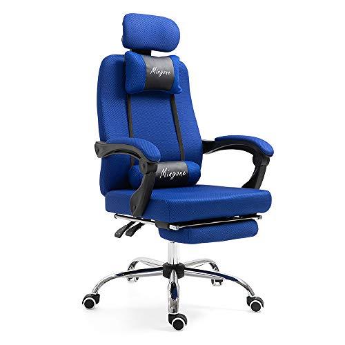 Mingone Bürostuhl Chefsessel Drehstuhl Computerstuhl Höhenverstellung Office Stuhl Polsterung wegklappbare Armlehne (Blau+mit Pedalen)