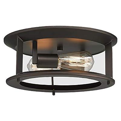 Emliviar Industrial Ceiling Light, Vintage 2-Light Flush Mount Ceiling Light Fixture, Oil Rubbed Bronze Finish, YE19108-F2 ORB