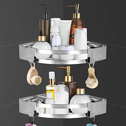 Duschregal Ohne Bohren,duschablage mit Haken und Magic Sticker,Multifunktions Dusche Ablage Duschkorb Duschaufbewahrung - Aluminium duschregal eckregal (2 Stück)