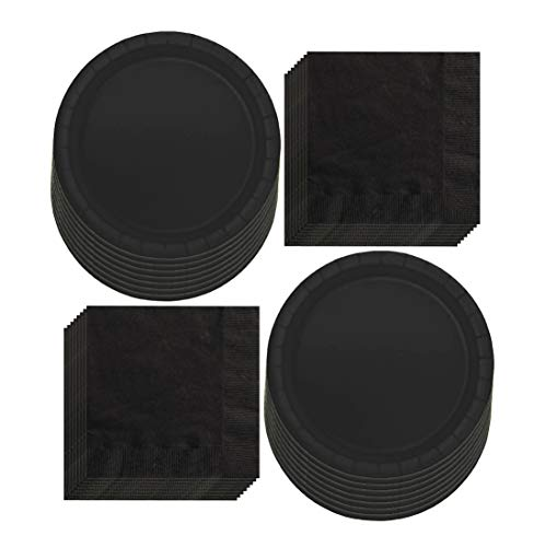 Solid Black Paper Dinner Plates and Luncheon Napkins, Black Party Supplies and Table Decorations (Serves 16)