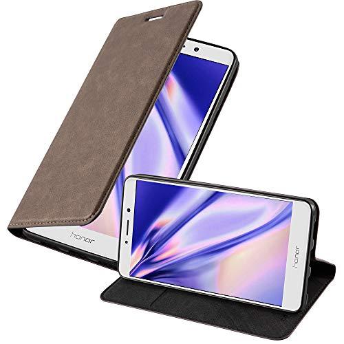 Cadorabo Hülle für Honor 6X - Hülle in Kaffee BRAUN – Handyhülle mit Magnetverschluss, Standfunktion & Kartenfach - Case Cover Schutzhülle Etui Tasche Book Klapp Style