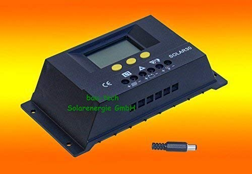 bau-tech Solarenergie 30A LCD Solar Laderegler Photovoltaik 12V / 24V für Solarpanel