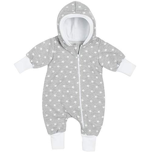 """Lilakind"""" Baby Jungen Mädchen Overall Einteiler mit Kapuze Jersey Fleece Sterne Grau meliert Gr. 68/74 - Made in Germany"""
