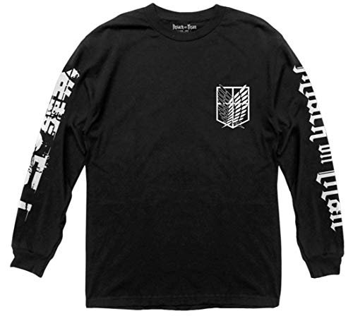 Ripple Junction Attack on Titan Scout Shield Long Sleeve Crew Neck Shirt XL Black