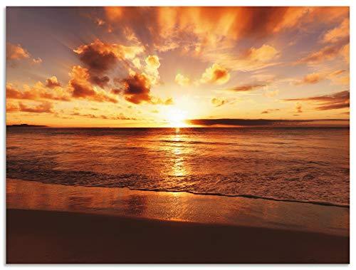 Artland Wandbild Alu für Innen & Outdoor Metall Bild 40x30 cm Strand Meer Küste Nordsee Sonnenuntergang Natur Landschaft Maritim T5MR