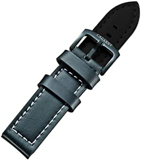Lanbinxiang@ Modern Simple Watches Band Green Buckle Leather Watch Strap, Width: 22mm Fashion (Color : Green)