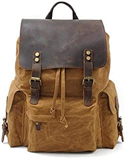 Lxy Mens Backpack Waterproof Laptop Bag Men's Large-Capacity Rucksack Casual Appearance Shopping Trip wk (Color : Khaki, Size : S)