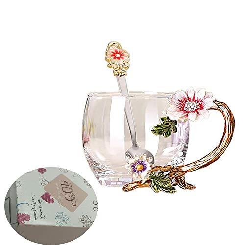 Handicraft Crystal Glass 3D Flower Cups Tea Mug With Tea Spoon Women Coffee, Tea, Juice, Beer, Milk Hot And Cold Drinks Use Gift Package. (Chrysanthemum, 11 OZ)