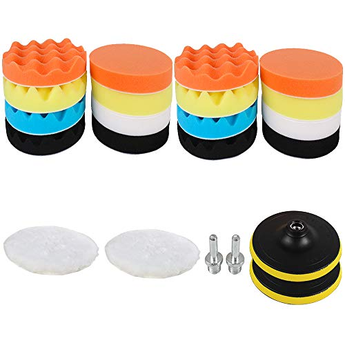 Sorrento Crafts Car Foam Drill Polishing Pad Kit 22 PCS, 3 Inch(80mm) Buffing Pads Sponge Pads Kit for Car Sanding, Polishing, Waxing, Sealing Glaze (Style 1)
