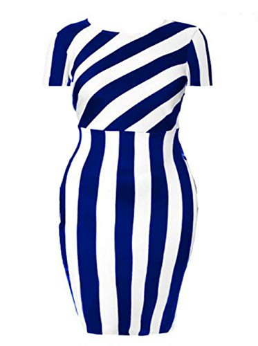 YUHENG Cocktail Party Pencil Dress for Women Short Sleeved Round Neck Stripes Knee Length Special Occasion Club Church to wear(Blue 4XL)