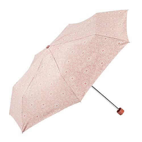 EZPELETA Sombrilla y Paraguas Plegable de Mujer. Manual con puño Recto. Protección Solar UPF 50+. Antiviento. Estampado Flores - Naranja