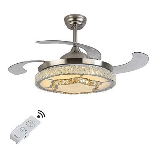 OUKANING Deckenventilator mit Beleuchtung und Fernbedienung 3 Licht Farben Fan Licht Kristall LED Deckenleuchte Einklappbare Flügel 42inch Deckenlampe für Schlafzimmer Wohnzimmer Esszimmer