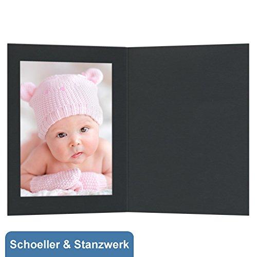 Schoeller & Stanzwerk© - 100 Stück Fotomappe/Eventmappe mit Passepartout ohne Bildertasche für 13x18 cm Fotos - schwarz matt - Kwick