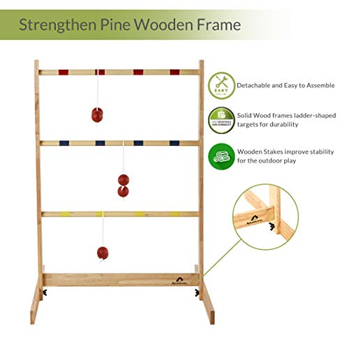 ApudArmis Ladder Toss Game Set, Pine Wooden Golf Ladder Lawn Game with 6 Bolos Balls and Carrying Case - Outdoor Yard Beach Game for Kids Adults Family