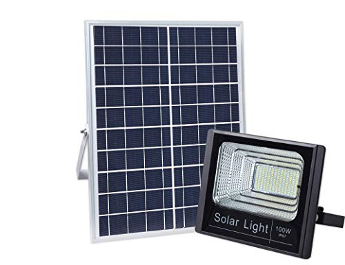100W Solar Flood Light Outdoor Dusk to Dawn with Remote Control 196 LEDs 5000 Lumen Waterproof IP67 Lamp for Yard, Swimming Pool, Garage, Warehouse, Playground, Hotel, Farm, Arena