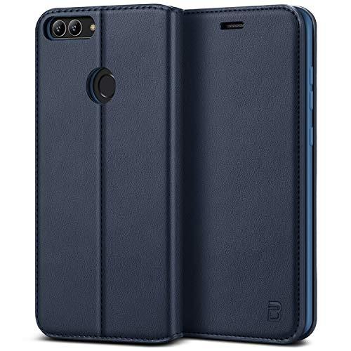BEZ Hülle für Huawei P Smart Hülle, Handy Hülle Kompatibel für Huawei P Smart Tasche, Handyhülle Hülle Schutzhüllen aus Klappetui mit Kreditkartenhaltern, Ständer, Magnetverschluss, Blau Marine