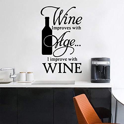 Blrpbc Adhesivos Pared Pegatinas de Pared Calcomanía de Vinilo para Botella de Vino de Horno de Vino, Pegatinas de Citas de murales de Arte extraíbles de Bodega 30x46cm