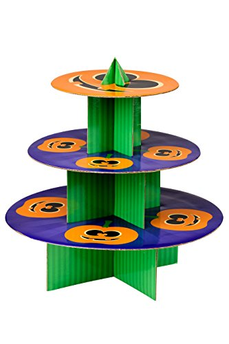 Premier Housewares Citrouille à 3 Niveaux pour gâteaux, Carton, Orange/Vert/Violet, 36 x 36 x 37 cm