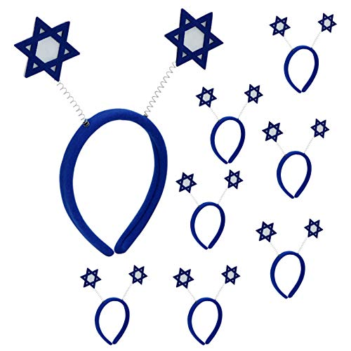 Iconikal Purim Headband Boppers, Star of David, 8-Pack