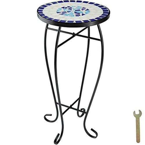 TecTake 800571 Mosaik Blumenhocker, runder Beistelltisch mit Steinmosaik, Ø 30cm, Diverse Farben- (Blau-Weiß | no. 402769)