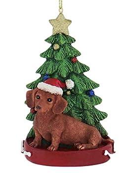 Kurt Adler Red Dachshund Wearing Santa Hat with Christmas Tree Ornament C7615RDA New